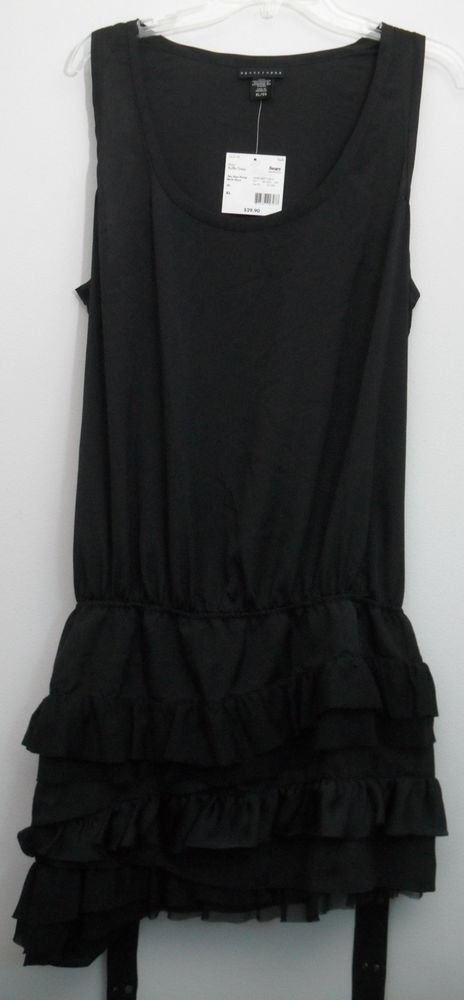 Apostrophe NWT Black Onyx Ruffle Dress XL Sleeveless Studded Belt Poly Lining