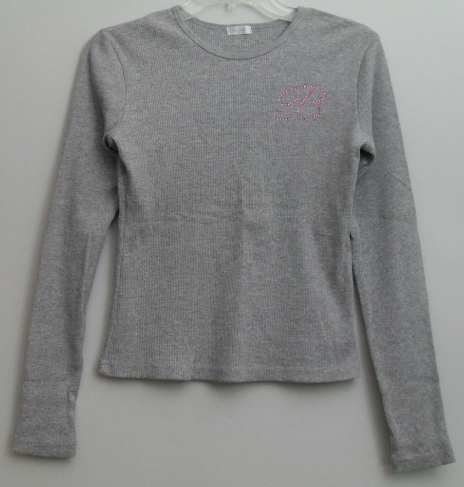 "Aqua Vertical Ribbed Gray Cotton Knit Top Pink Studded Monogram "" B "" S / M"