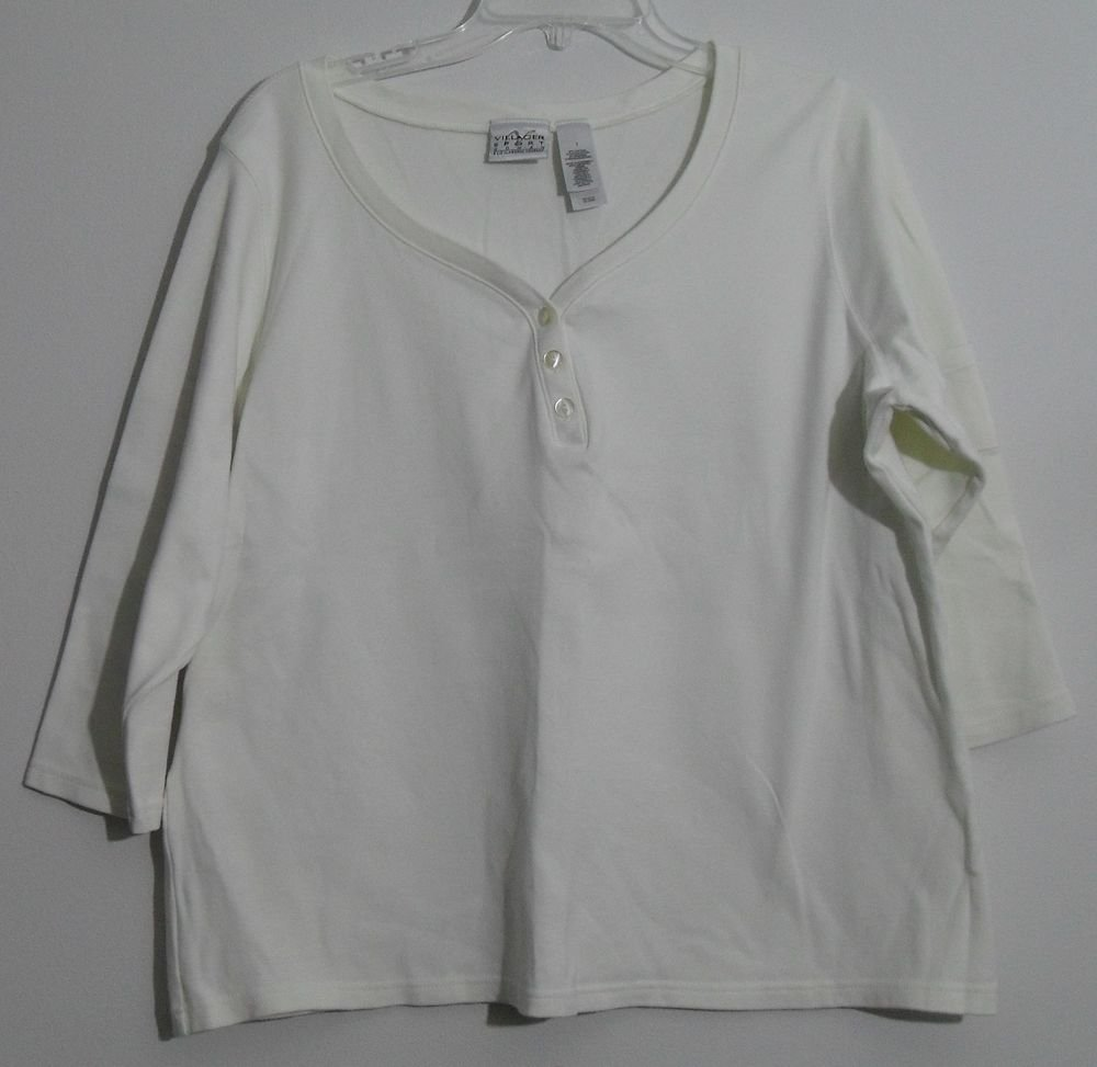 Liz Claiborne Villager Sport Sweetheart Button V-Neck Pocket Sleeve Off White 1X