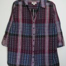 Dressbarn Woman Size 18 / 20 Pintucked Button Down Blouse Top w/ Locker Loop