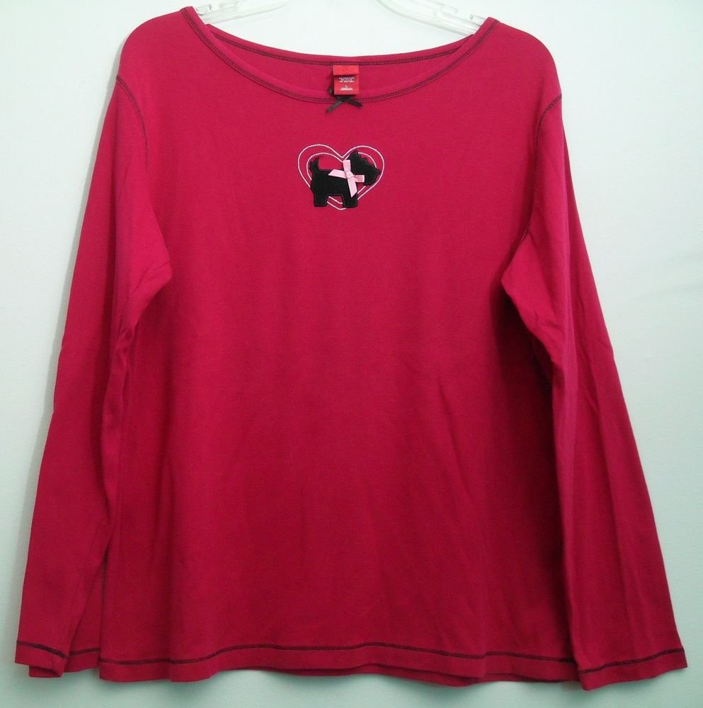 Scottish Terrier Love My Dog Heart Pink & Black Bows & Stitching Red Top Large
