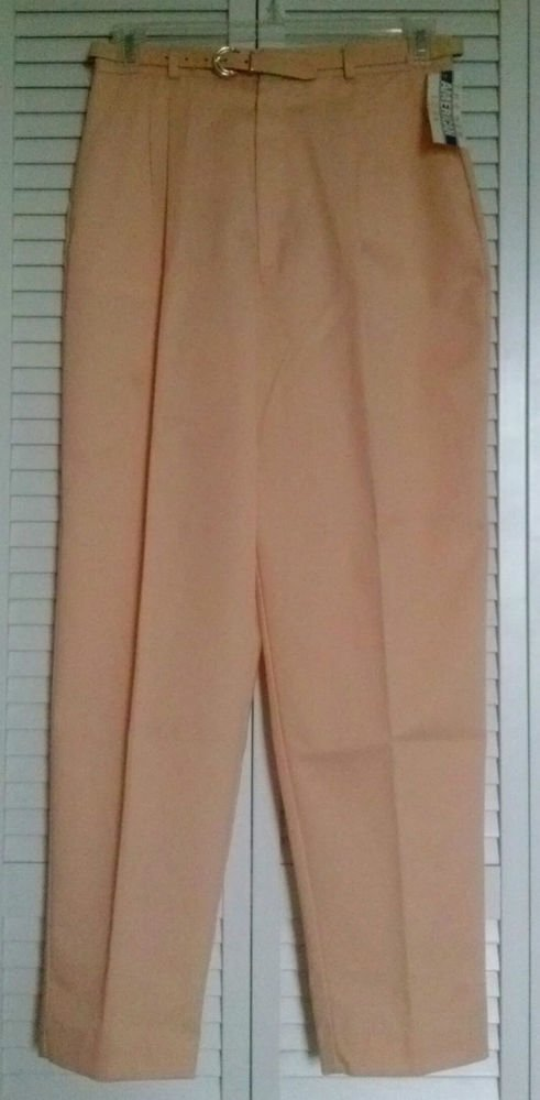 Lord Isaacs 13 / 14 Polyester Cotton Peach Color Belted Casual Dress Career Pant