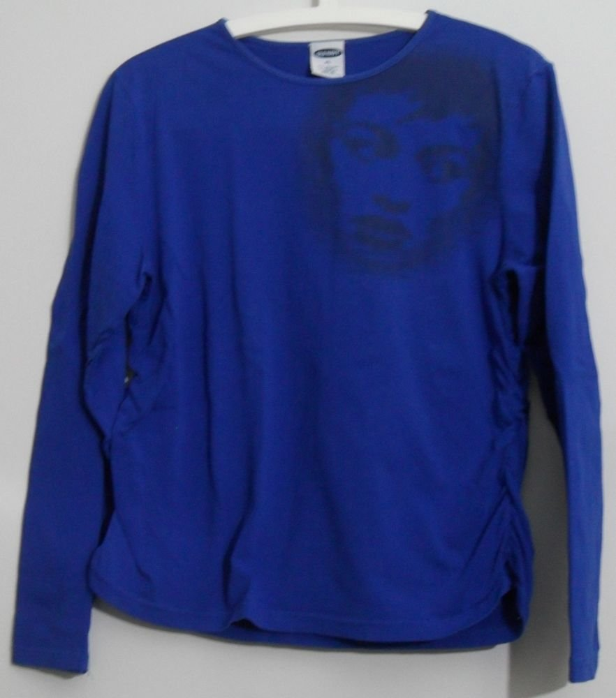 Old Navy XL Blue Knit Top Gathered Sides Face Print Long Sleeve Casual Knit Top