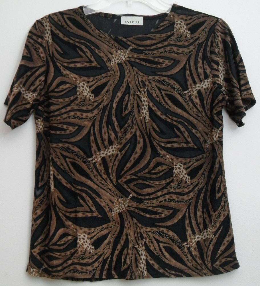 Jaipur Sexy Animal Print Lightweight Top Semi-Sheer Partial See-Through Pullover