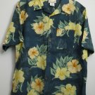 Banana Cabana Large Mens Wood Buttons Down Short Sleeve Floral Silk Chest Pocket