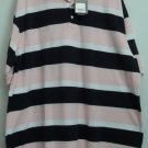 St. John's Bay Mens Pique Polo Pink Black 2XLT NWT B&T Big & Tall Tagless XXLT