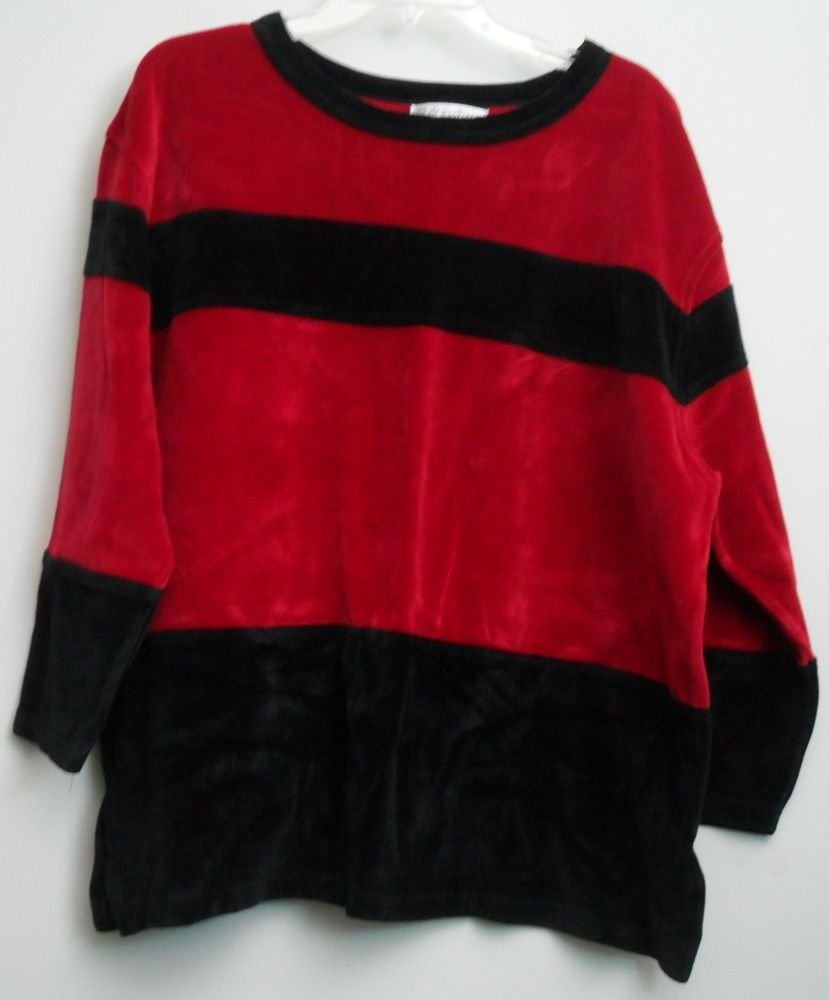 "Dressbarn 2X Pullover Velour 4"" Vertical Side Slits Black Red Horizontal Stripes"