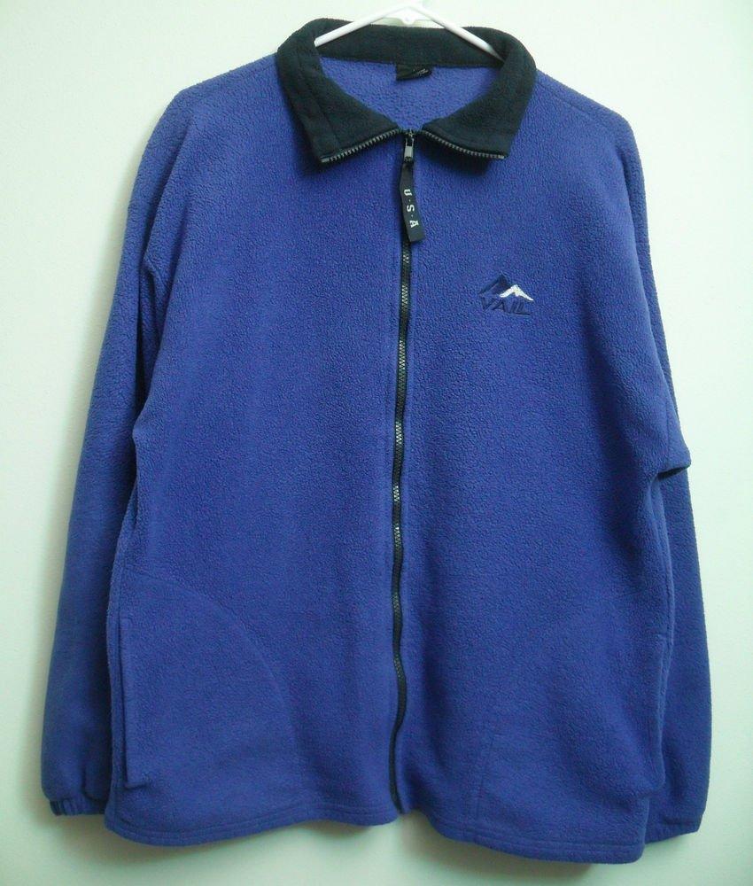 VAIL Skiing Fleece Jacket Long Sleeve Full Front Zip Blue/Purple? 2 Two Pockets