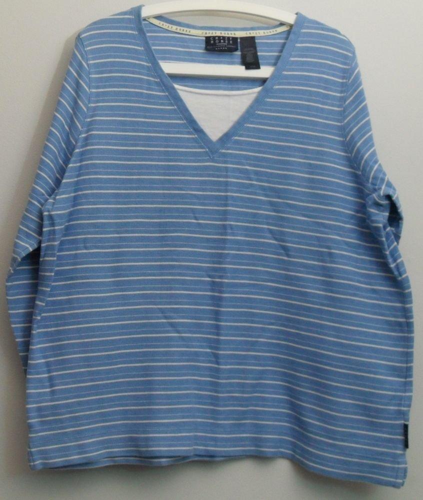 Liz Claiborne Crazy Horse Woman Size 1X Blue & White Horizontal Stripe Top Shirt