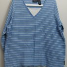 Liz Claiborne Crazy Horse Woman Size 1X Blue & White Horizontal Stripe Top Shirt