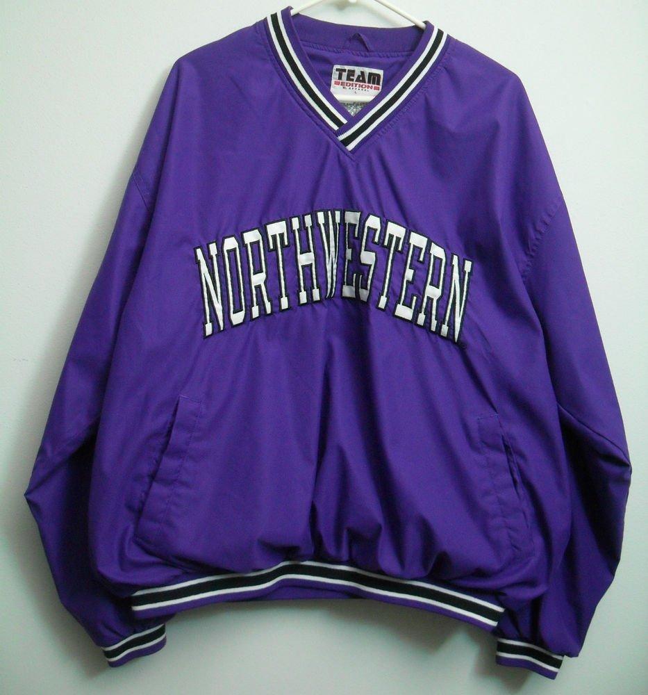 Northwestern College Purple Pullover Wind Shirt Nice Inside Lining Team Edition