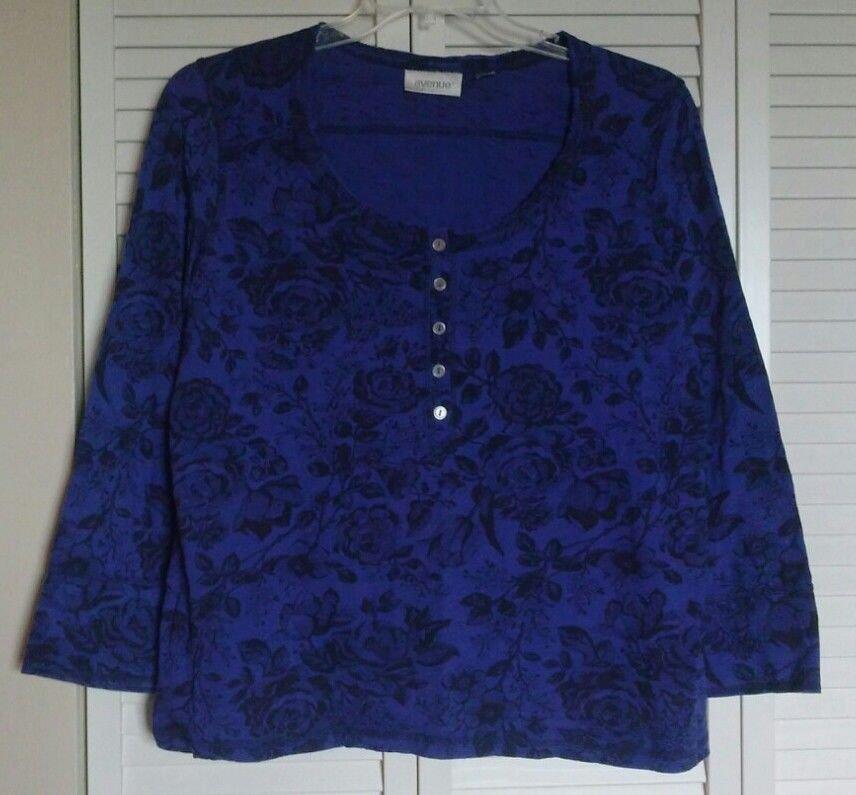 Avenue Henley 18 W Purple Blue w/ Black Floral Print Rough Cut Scoop Neck