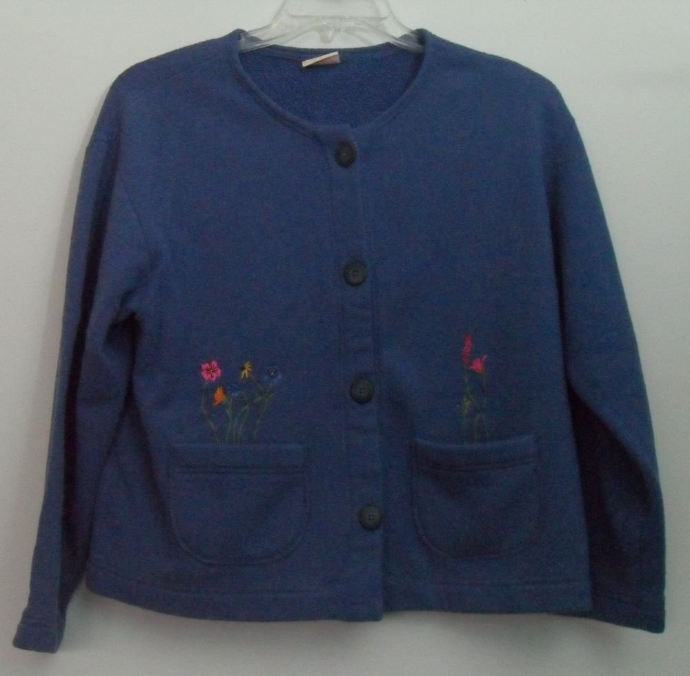 Visible Ink Manitowoc WI Blue Cardigan Button Front Embroidered Flowers Pockets