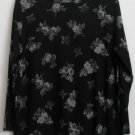 Sag Harbor Petite PL Rayon/Polyester Flower Floral Pattern Black Gray Silver