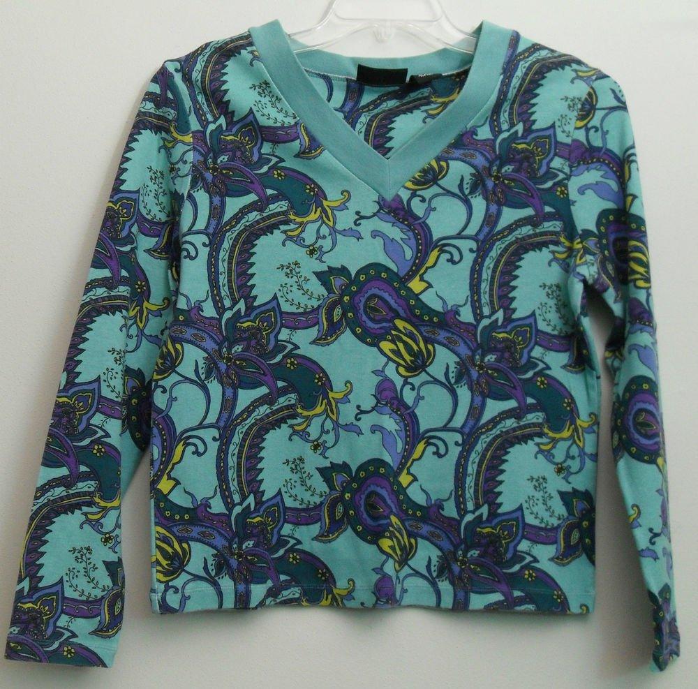 Relativity Flower sz L Misses Large Long Sleeve V-Neck Pullover Blue Vibrant Col