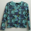 Relativity Flower sz L Misses Large Long Sleeve V-Neck Pullover Blue Vibrant Col