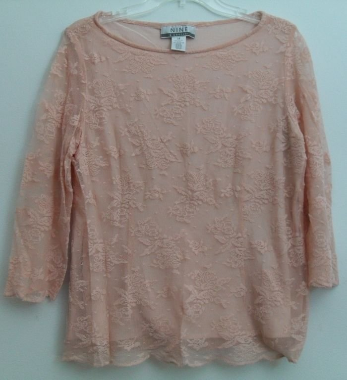 NINE & Company Boatneck Peach/Pink 3/4 Sleeve Layered Top Floral Pattern Nylon