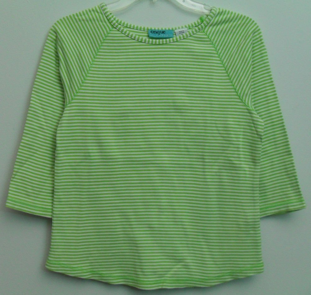 Onque Casuals Womens Medium Striped Green / White 3/4 Sleeve Pullover Knit Top