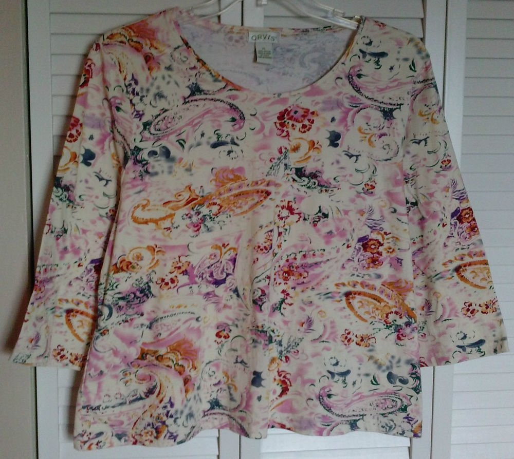 Orvis XL 100% Cotton Crewneck Pullover Knit Tee Paisley Floral Multi Colored Top