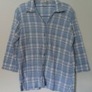 Dressbarn 18W/20W Elastic Gathering Wrinkle Crinkle Blue/White 3/4 Sleeve Button