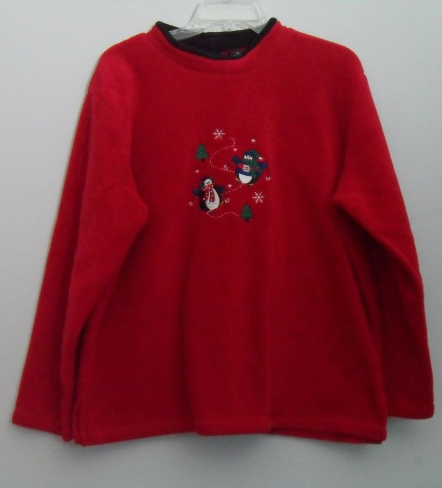C&B Sport Petite Croft & Barrow Red Christmas Winter Sweater Top Penguins Skiing