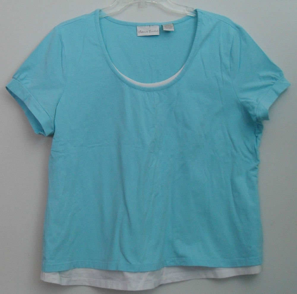 Intimate Essentials Sz Large Aqua Blue Short Sleeve Full White Frontal Inset Top