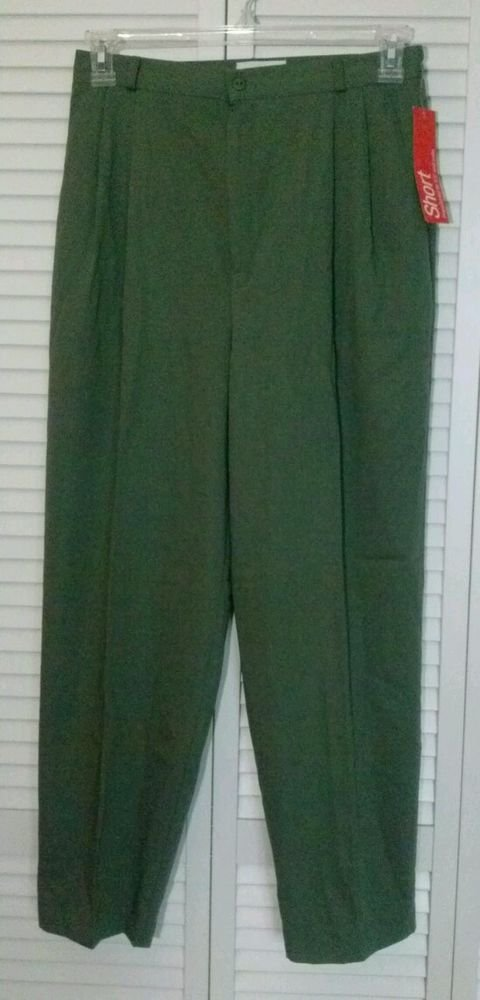 NWT Christopher & Banks Size 12 Short Olive / Army Green Rayon & Polyester Pant
