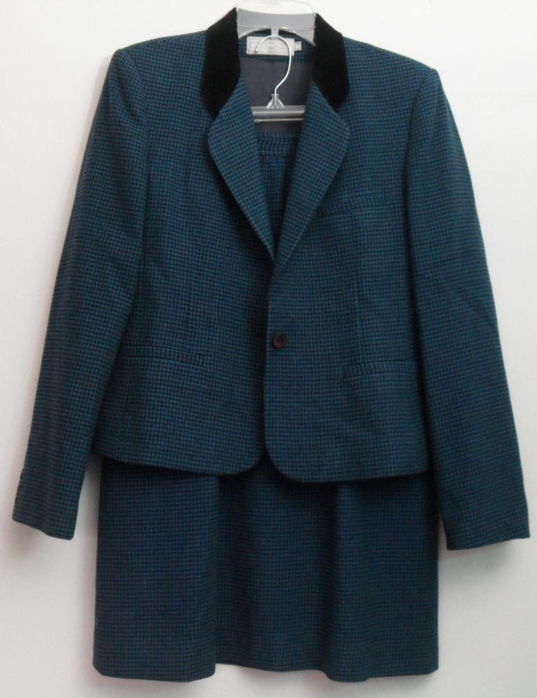 Evan-Picone Blue Green Black Houndstootth Velvet Collar 2 Piece Jacket Skirt 10