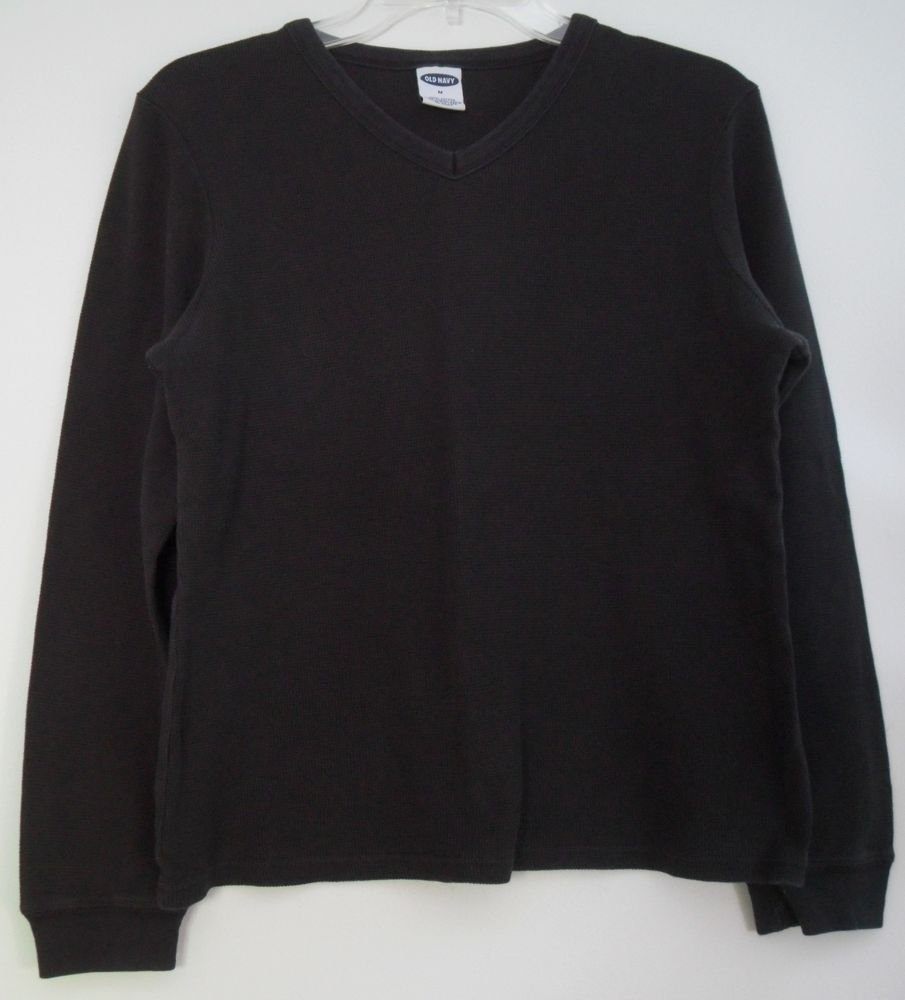 Old Navy Womens M 100% Cotton Long Sleeve Black Pullover Thermal Summer Fall Top