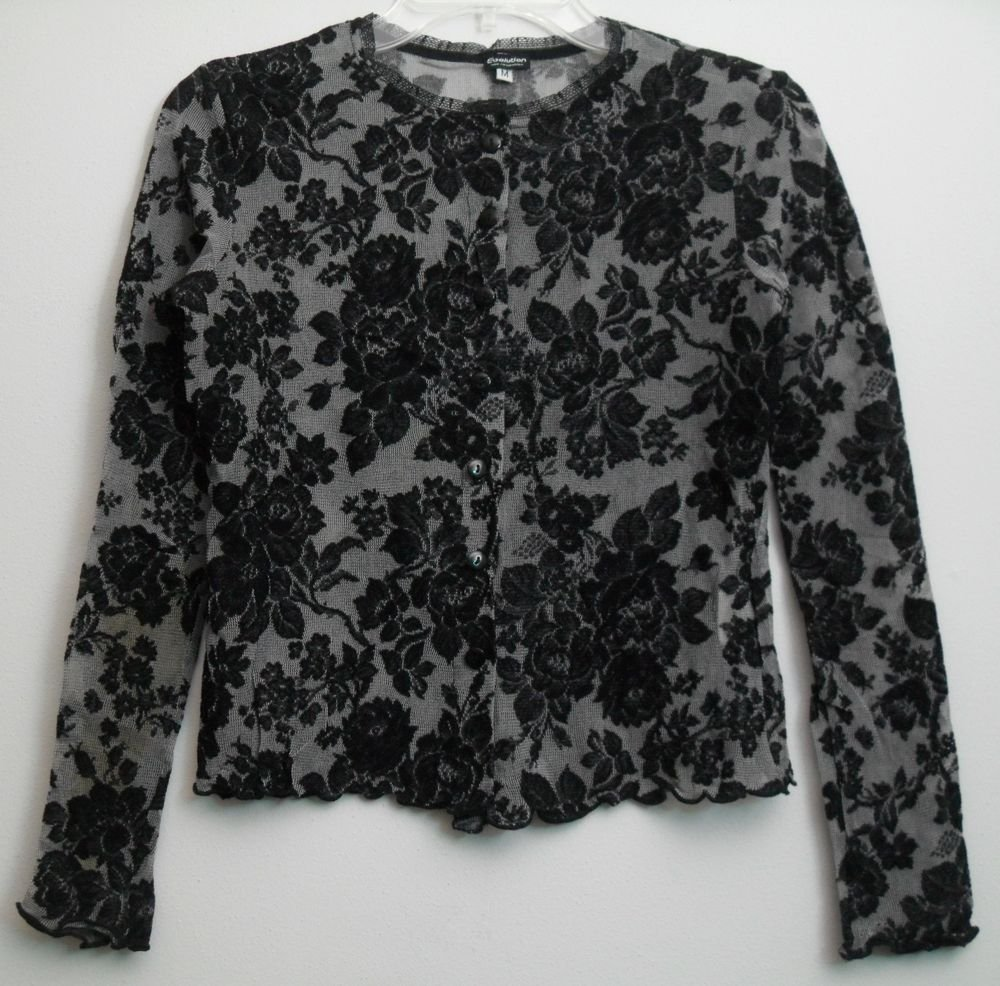 Evolution not Revolution Black Floral Pattern Scalloped Edges Lace Trim Neckline