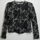 Evolution not Revolution Black Floral Pattern Scalloped Edges Lace Trim Neckline