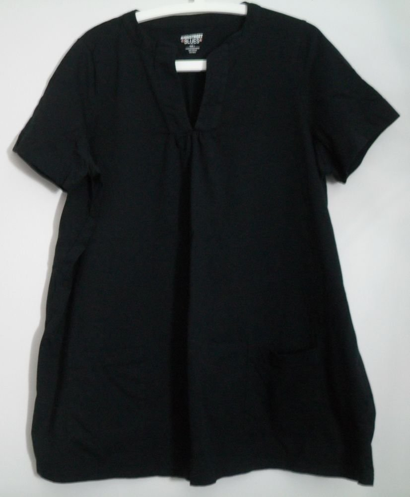 Mainstreet Blues Black Plus Size Large 18 20 Split V-Neck 2 Pockets Short Sleeve