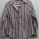Chico's Size 1 Cotton Nylon Spandex Vertical Stripe Button Down Casual Small Top