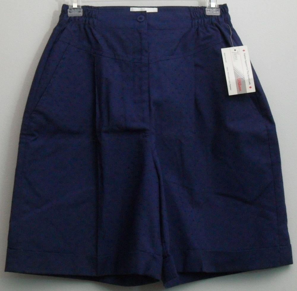Retro Vintage Wilson Tiara Size 12 Navy Blue Swiss Dot Golf Shorts w/ Pockets