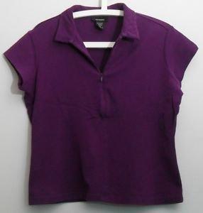 Express Womens XL Purple Shortsleeve Zipper Knit Top Collared Cotton Spandex