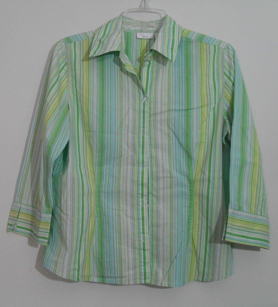 Apt. 9 Vertical Stripe Light Greens Collared Button Down size Medium 3/4 Sleeve