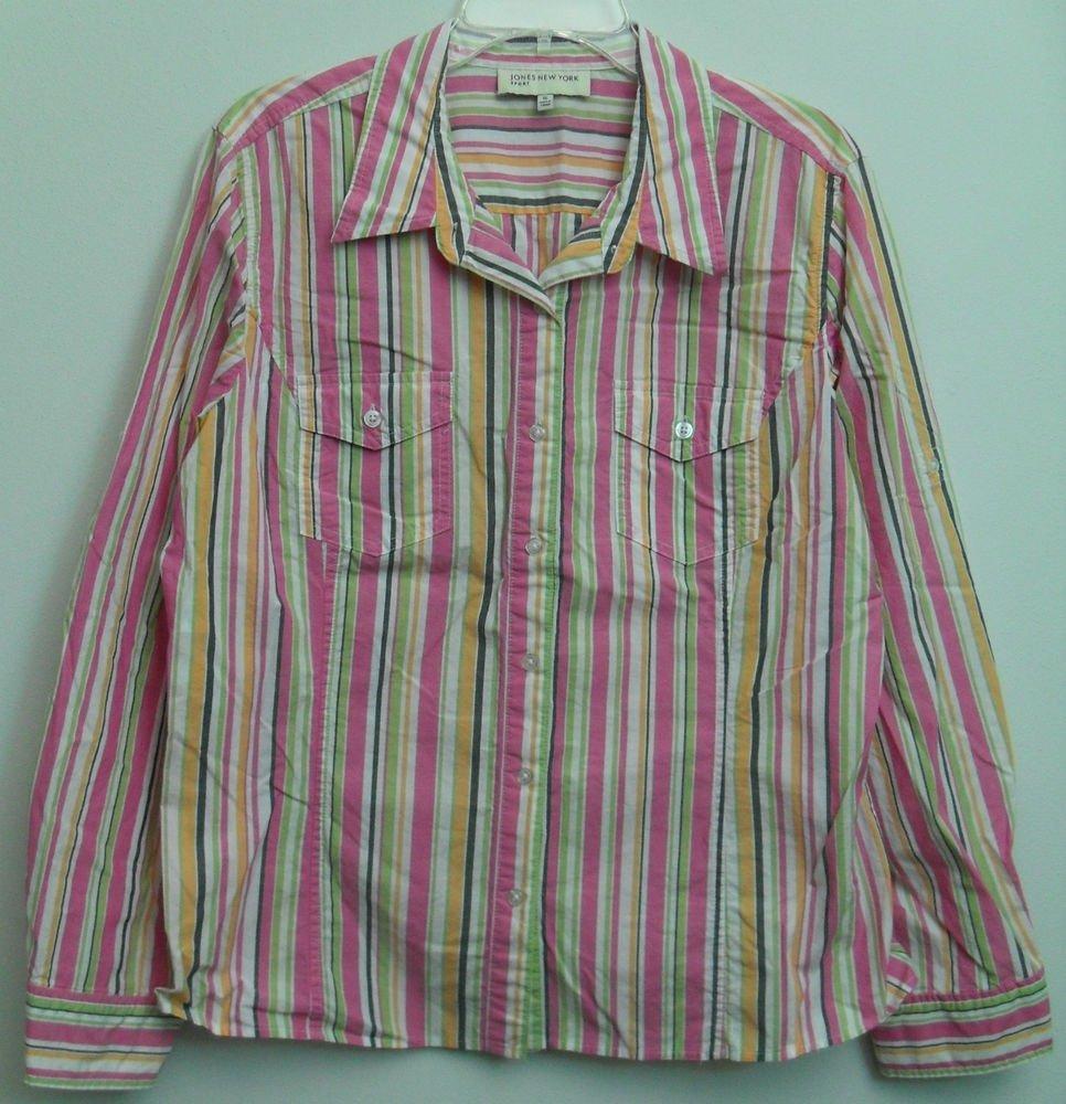 Jones New York Sport Womens XL Striped Colorful Button Down Casual Dress Shirt