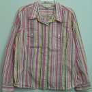 Jones New York Sport Womens XL Striped Colorful Button Down Casual Dress Shirt
