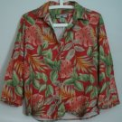 Caribbean Joe Size M Leaf Floral Pattern Red Green Collared 3/4 Sleeve Rayon Top