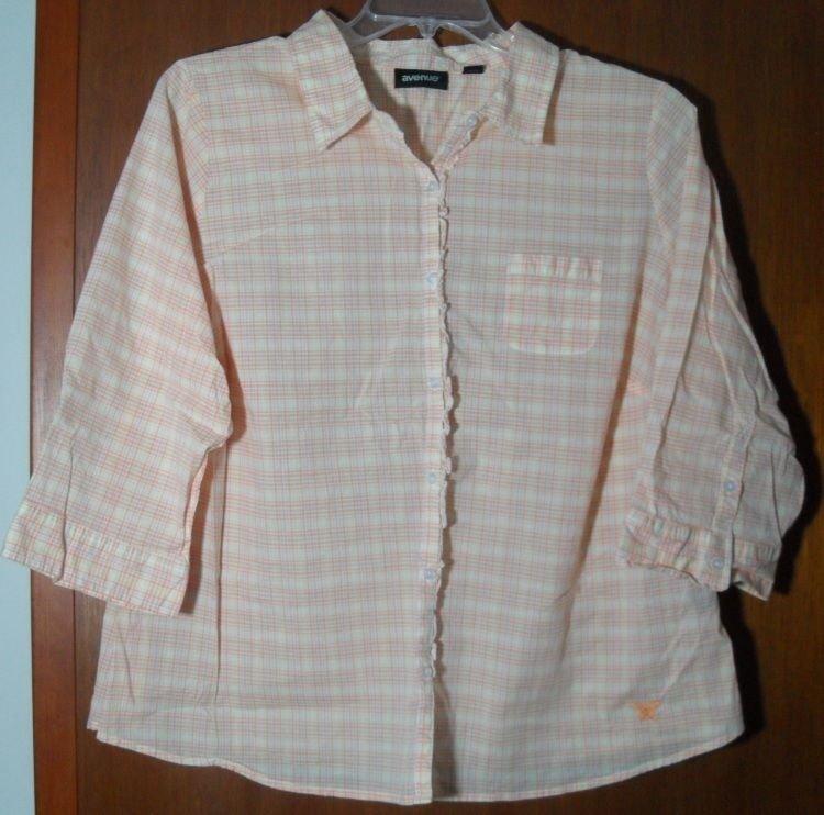 Avenue 22/24 Plus 3X Size Orange Yellow Pink Crosshatch Pattern Butterfly