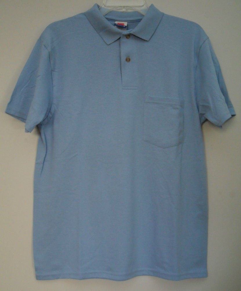 Hanes Stay Clean Mens Small Blue Short Sleeve 2 Button Front 1 One Chest Pocket