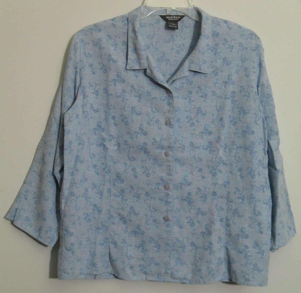 Woolrich Women's Large 2032 Blue Bell Linen Blend Floral Burnout Button Blouse