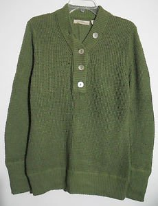 Natural Reflections Womens Pullover Sweater Ribbed Endings Oyster Shell Buttons