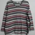 Covington 16 / 18 W Red White Gray Horizontal Striped Pullover V-Neck Sweater