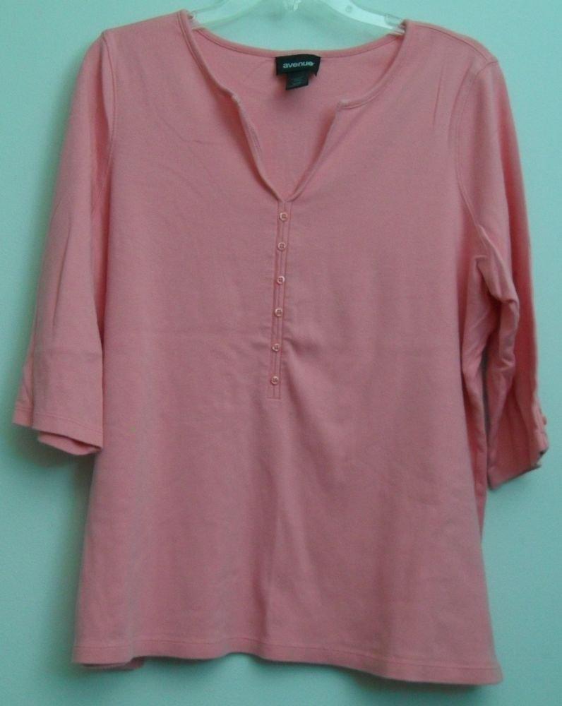 Avenue 18/20 Comfort Fit Split V-Neck Henley Style Decorative Buttons Pink Slits