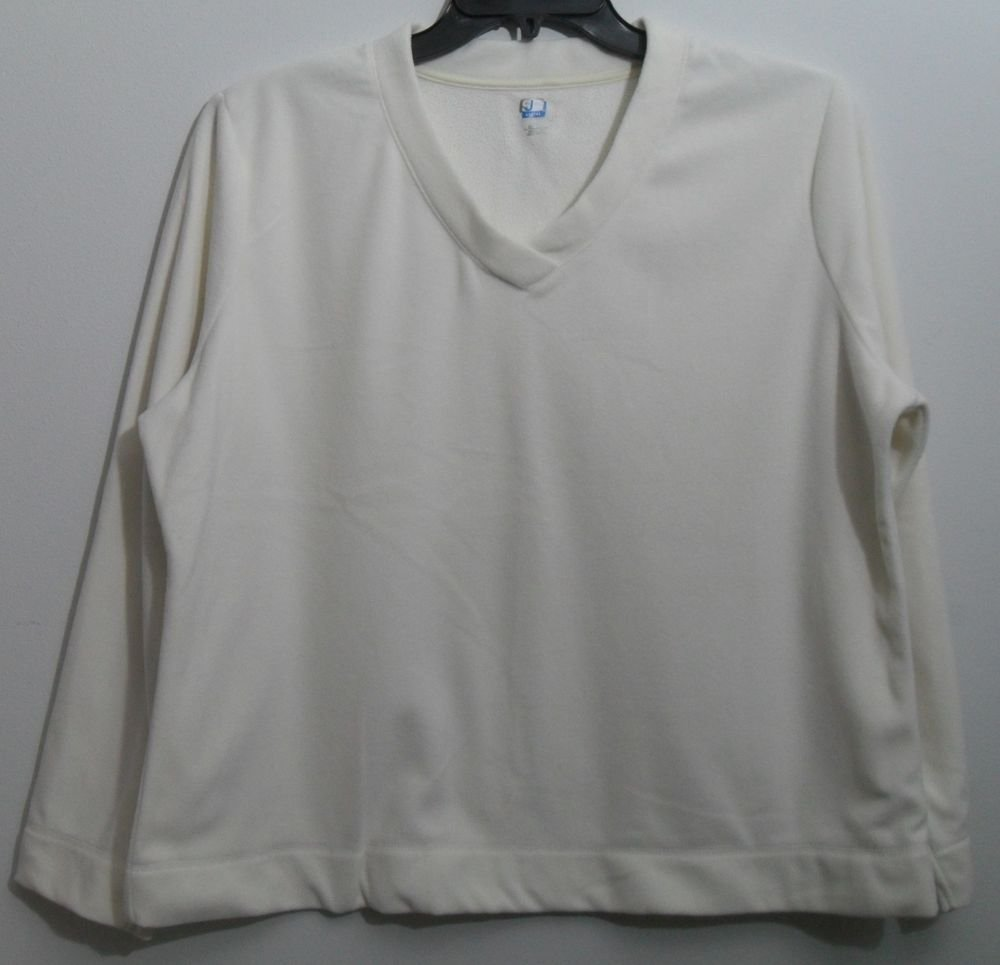 St. John's Bay SJB Active Petite XLarge V-Neck Off White Fleece Pullover PXL