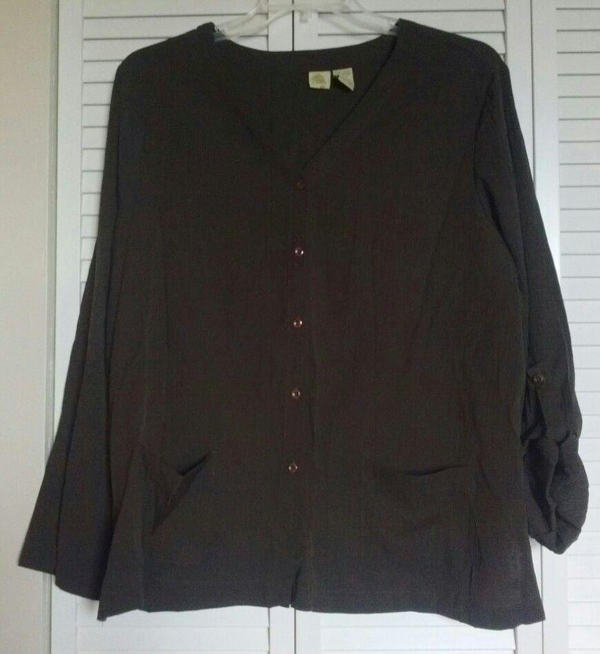 Islander XL Polyester & Rayon Brown Roll Tab Pocket Shirt Blouse Jacket Shacket