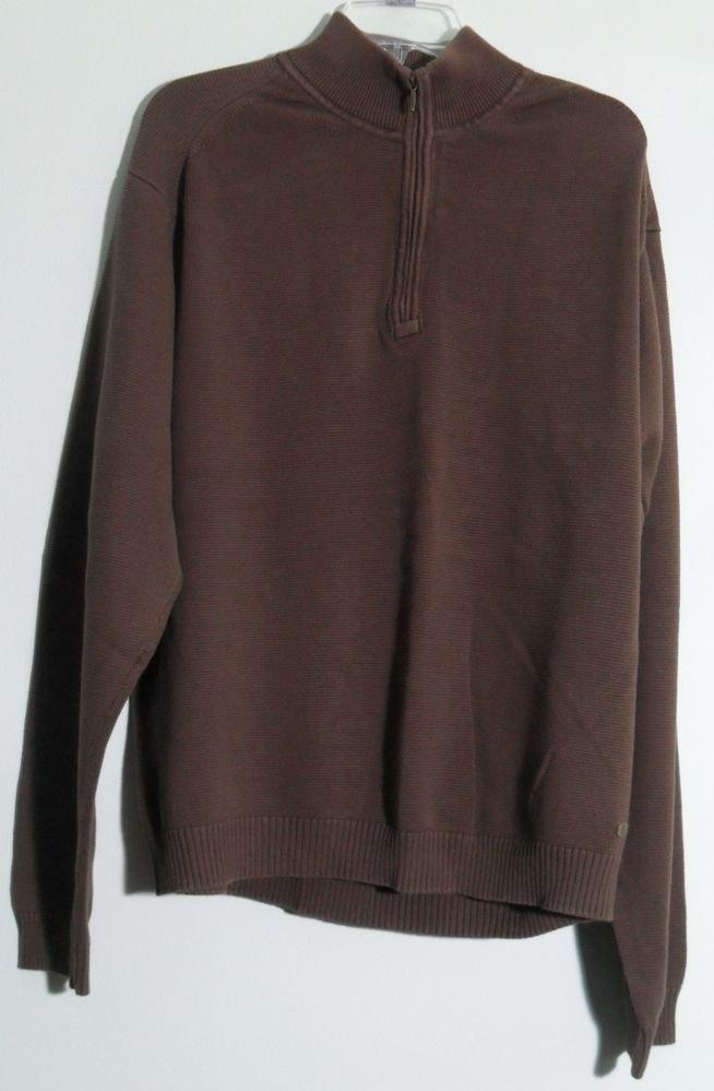 IZOD Mens 1/4Quarter Zip Knit Pullover Sweater Brown Long Sleeve Mock TurtleNeck