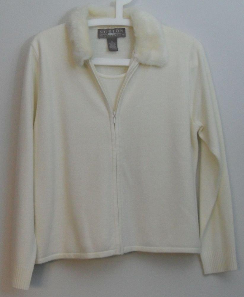 Norton McNaughton Petites PL Zip 2fer Sweater Faux Fur Collar Scoop Neck Acrylic