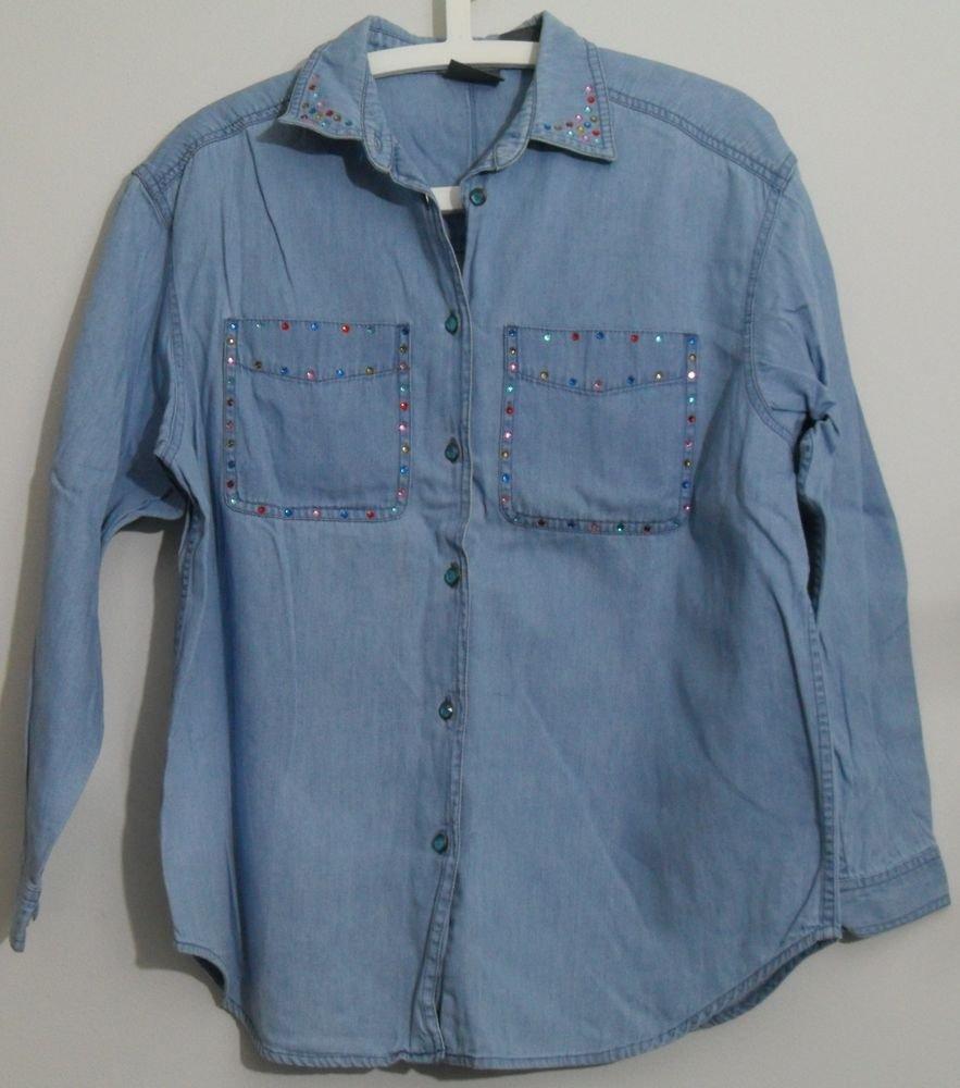 LizWear Petite Small PS Denim Blue Gem Rhinestone Studs Button Down Pocket Shirt